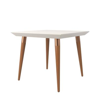 107252 Utopia 35.43 Modern Beveled Square Dining Table With Glass Top In Off