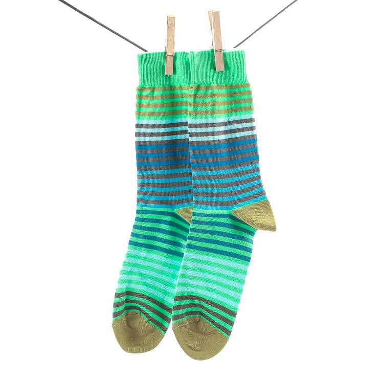 Crönert, 26501 Striped Men's Socks, light green Größe 39-42