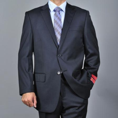 Mens Textured Black 2button Wool Suit