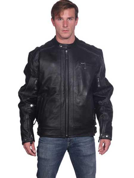 Mens Classic Front Zipper Closure Black Leather Basic Jacket
