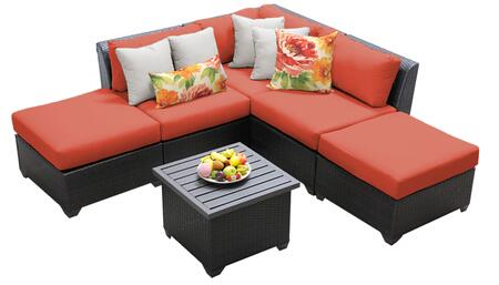 Barbados BARBADOS-06f-TANGERINE 6-Piece Wicker Patio Set 06f with 1 Corner Chair  2 Armless Chairs  2 Ottomans and 1 End Table - Wheat and Tangerine