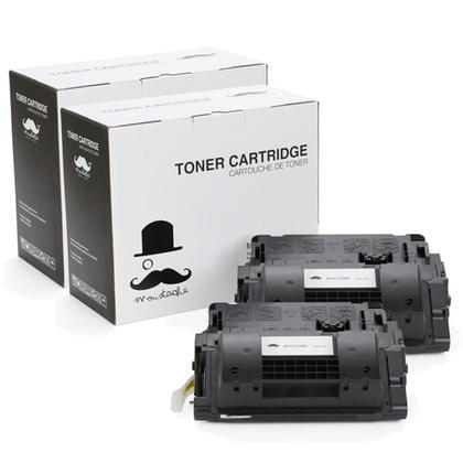 Compatible HP 90X CE390X cartouche de toner noire haute capacite - Moustache - 2/paquet