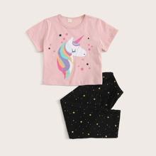 Toddler Girls Cartoon And Galaxy Print PJ Set