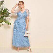 Kleid mit Raffungsaum, Punkten Muster und Netzstoff