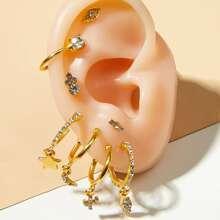 8pcs Star & Moon Decor Earrings