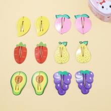 6 Stuecke Kleinkind Maedchen Haarklammer mit Obst Muster