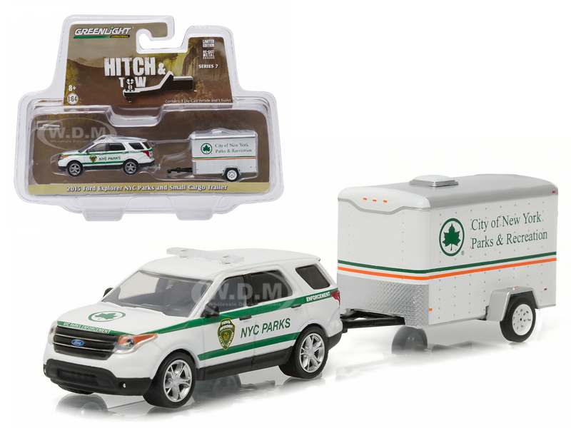 2015 Ford Explorer New York City Department of Parks and Recreation & Small Cargo Trailer Hitch & Tow Series 7 1/64 Diecast Car Model by Gre