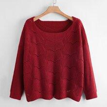 Plus Drop Shoulder Pointelle Knit Sweater