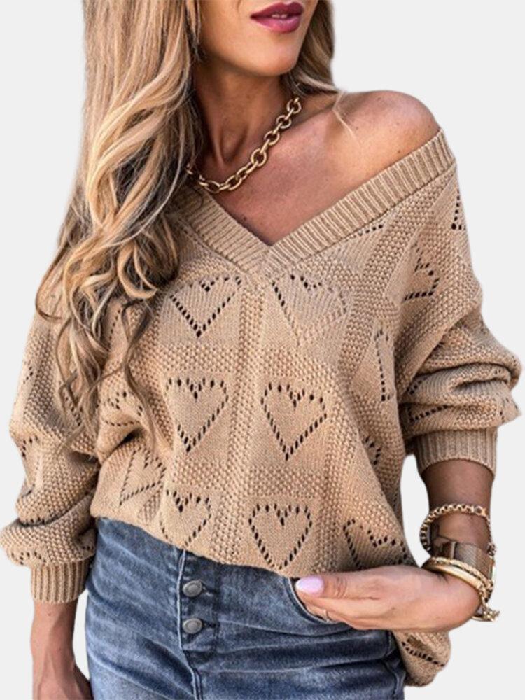 Heart Hollowed V-neck Off-Shoulder Solid Color Knit Women Sweater