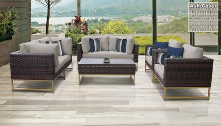 Barcelona Collection BARCELONA-07e-GLD-ASH 7-Piece Patio Set 07e with 4 Corner Chair   2 Club Chair   1 Coffee Table - Beige and Ash