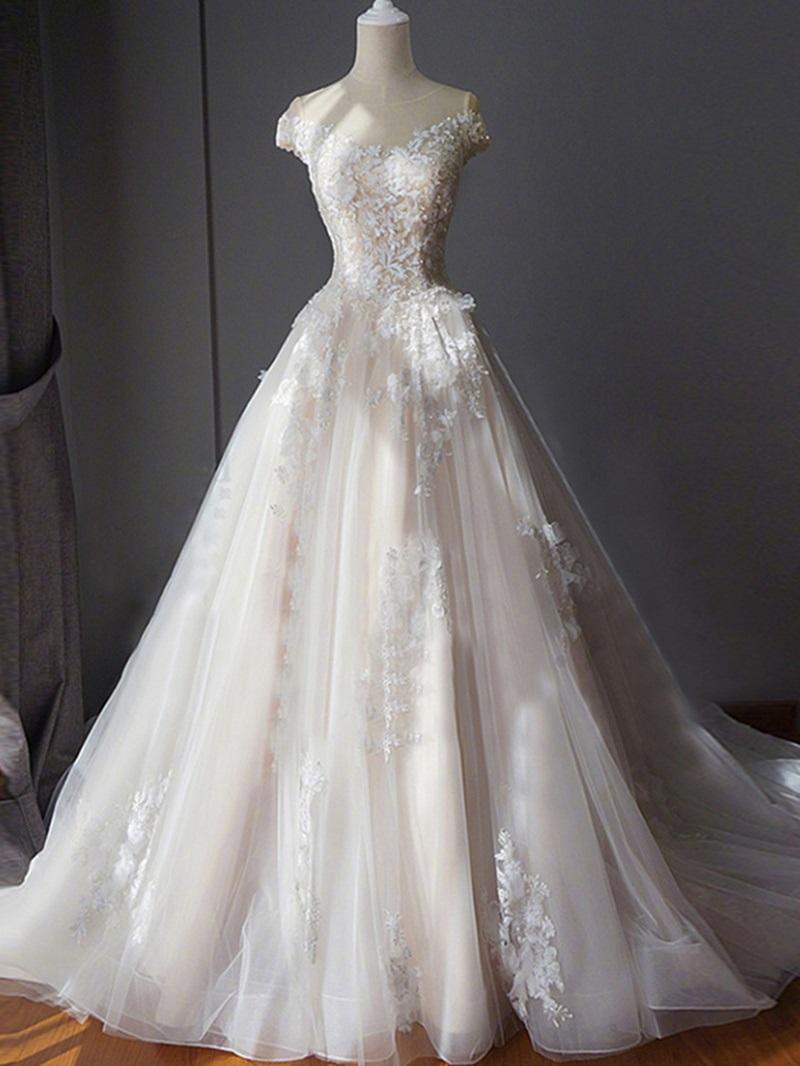 Ericdress Scoop Neck Appliques Chapel Train Wedding Dress