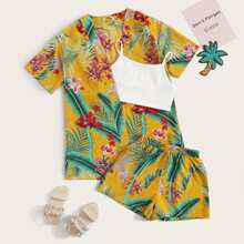 Maedchen Kimono mit Pflanzen Muster und Shorts Set