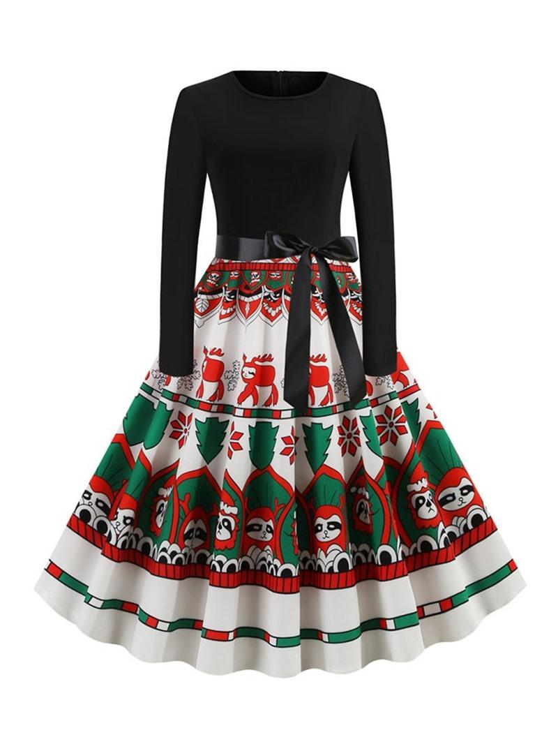 Ericdress Long Sleeve Round Neck Mid-Calf Cartoon Sweet Dress