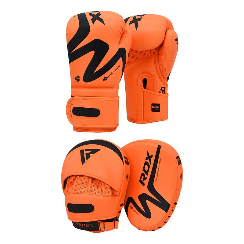 RDX T15 Nero Orangene Boxhandschuhe and Boxpratzen 16oz