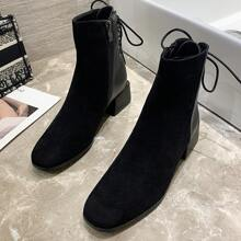 Lace-up Back Chunky Heel Boots