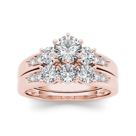 1 1/2 CT. T.W. Diamond 3-Stone 14K Rose Gold Bridal Set, 6 , No Color Family