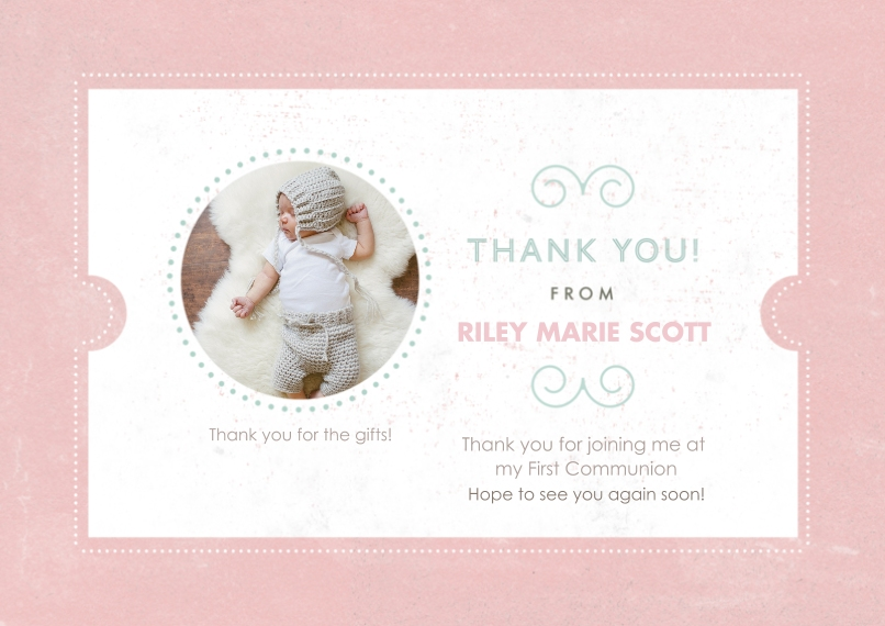 Communion 5x7 Cards, Premium Cardstock 120lb with Scalloped Corners, Card & Stationery -Filigree Communion Set Thank You