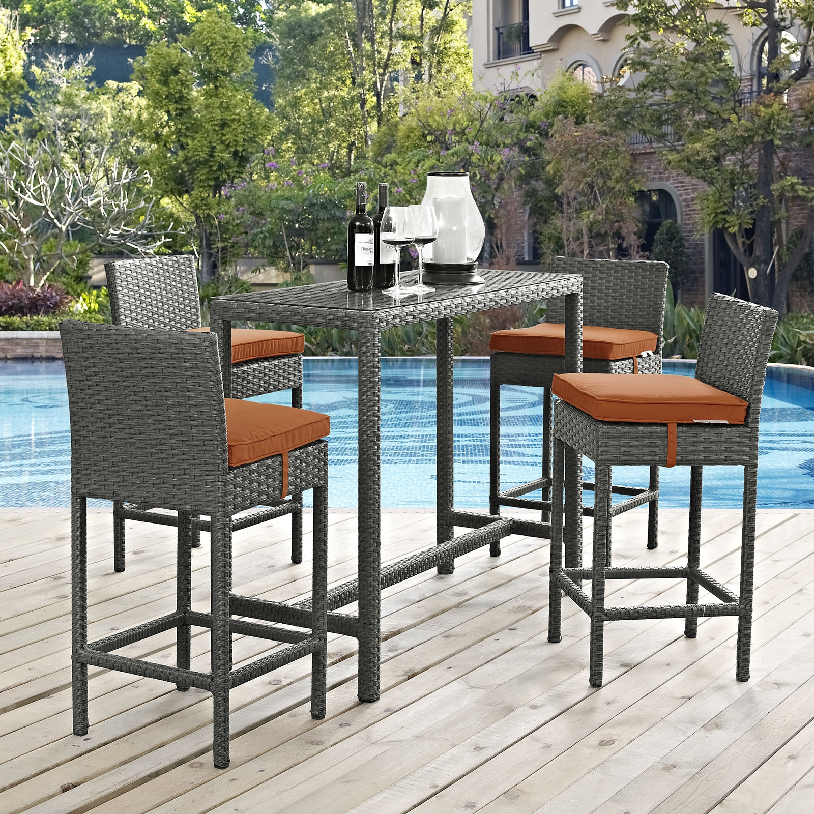 Sojourn 5 Piece Outdoor Patio Sunbrella® Pub Set in Canvas Tuscan