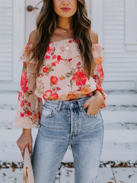 YOINS Double Layer Design Off The Shoulder Long Sleeves Blouse