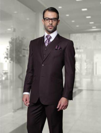 Statement Men's Plum (Eggplant) 2 Button Modern Fit Wool Suit