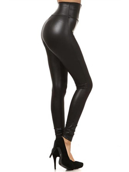 Yoins Black Zip Front Faux Leather High-Waisted Leggings