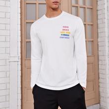 Men Slogan Pattern Sweater