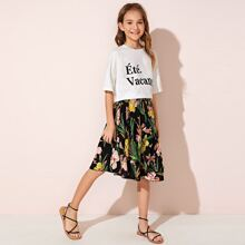 Girls Letter Graphic Top & Floral Print Skirt Set
