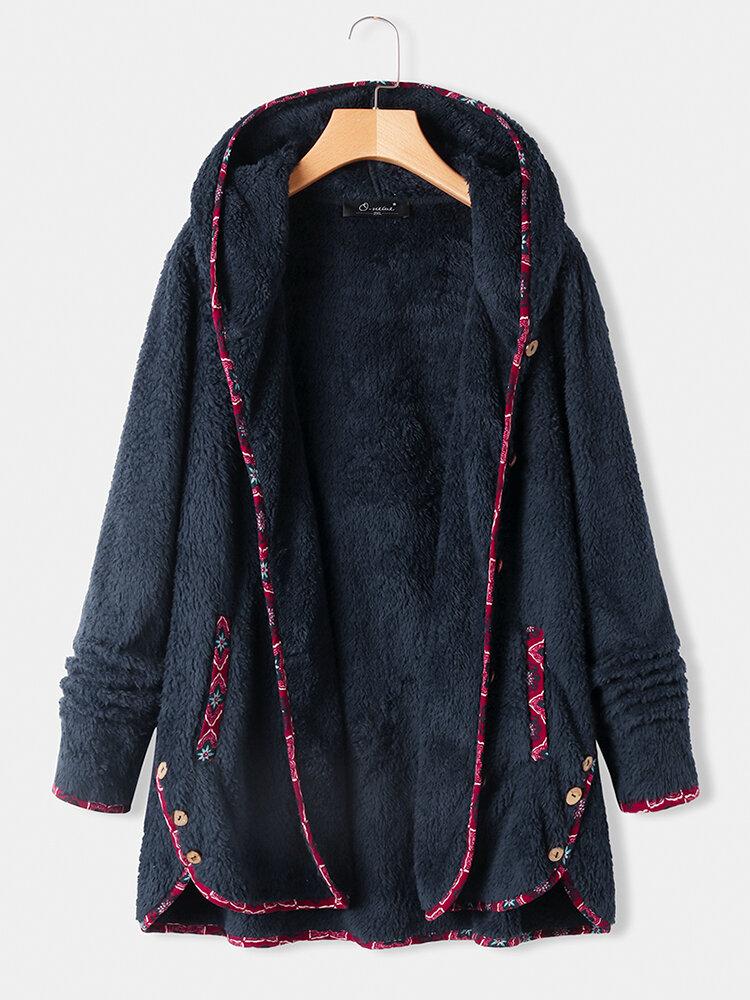 Fleece Floral Print Patchwork Plus Size Hooded Coat with Pockets