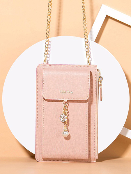 Yoins Flower & Pearl Ornaments Wallet Bag with Chain