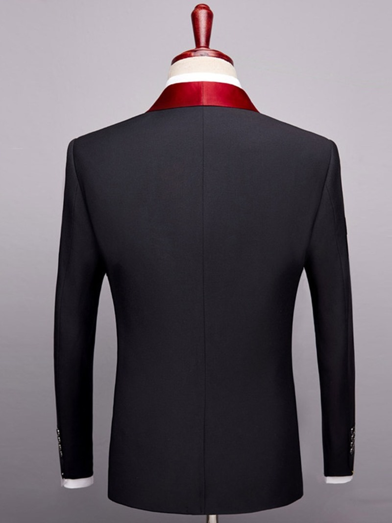 Ericdress Plain One Button Shawl Collar Mens Party Wedding Suit