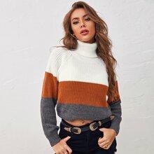 Gerippter Pullover mit Farbblock und Stehkragen