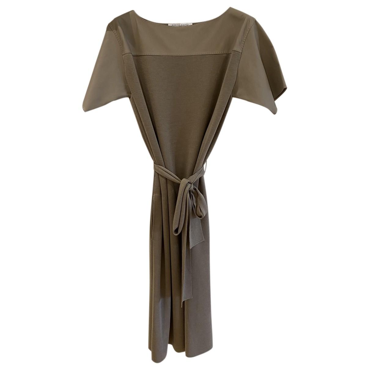 Agnona - Robe   pour femme en cuir - beige