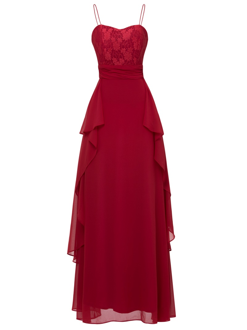 Ericdress A Line Spaghetti Straps Layers Chiffon Ankle Length Evening Dress