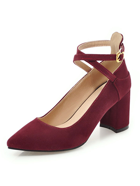 Milanoo Pointed Toe Heels Suede Burgundy Criss Cross Chunky Heel Pumps For Women