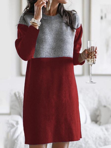 Yoins Casual Color Block Crew Neck Patchwork Long Sleeves Sweatshirt Dress