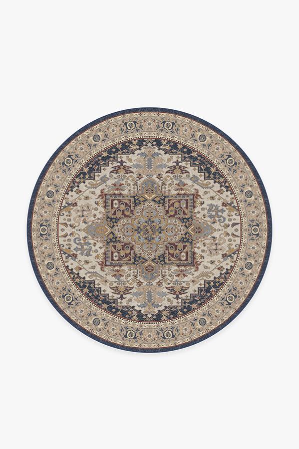 Washable Rug Cover | Vintage Heriz Ivory Blue Rug | Stain-Resistant | Ruggable | 6' Round