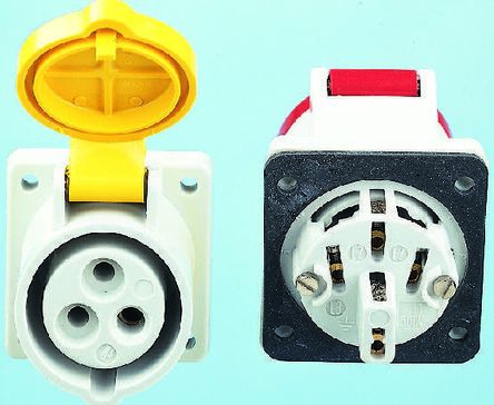 MENNEKES IP44 Red Panel Mount 4P Industrial Power Socket, Rated At 16.0A, 400 V