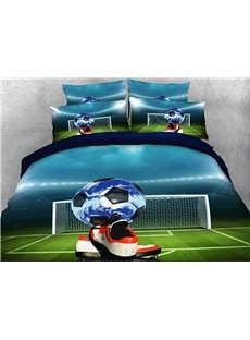 Soccer Ball and Shoes Printed Cotton 3D 4-Piece Bedding Sets/Duvet Covers
