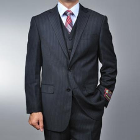 Mens 2 Button Vested 3 Piece Suit Black Pinstripe Cheap