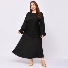 Plus Flounce Sleeve Lace Panel Maxi Dress