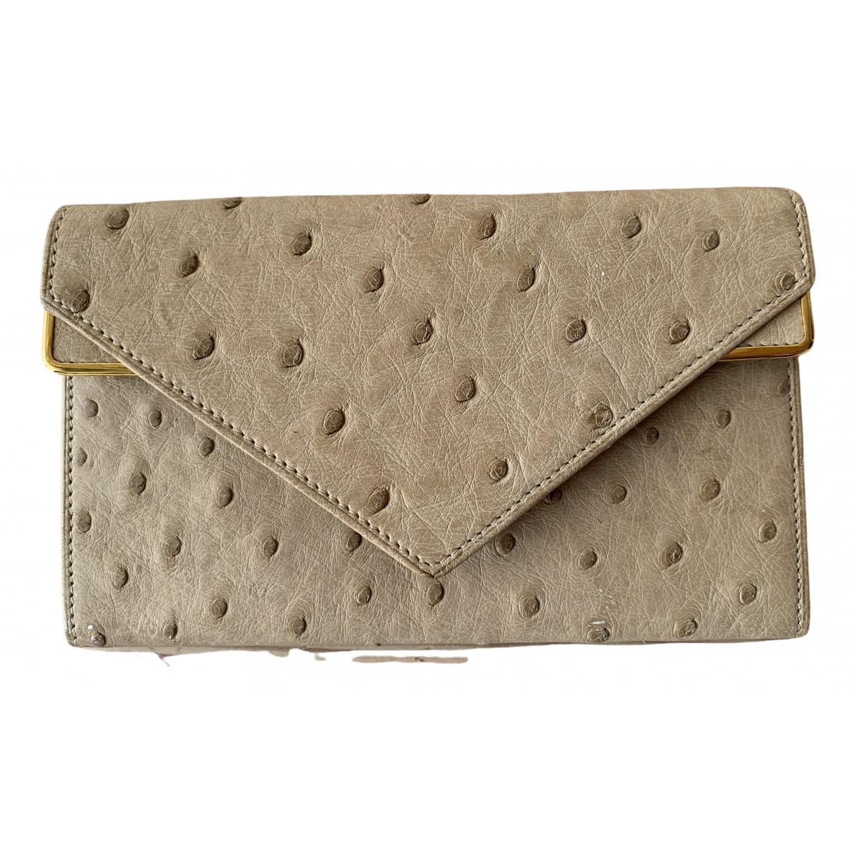 - Portefeuille   pour femme en autruche - beige