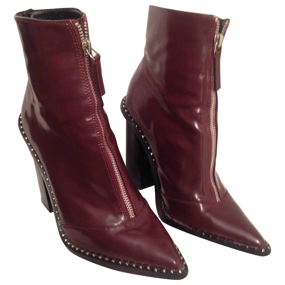 - Boots Hippie Chic pour femme en cuir verni - bordeaux