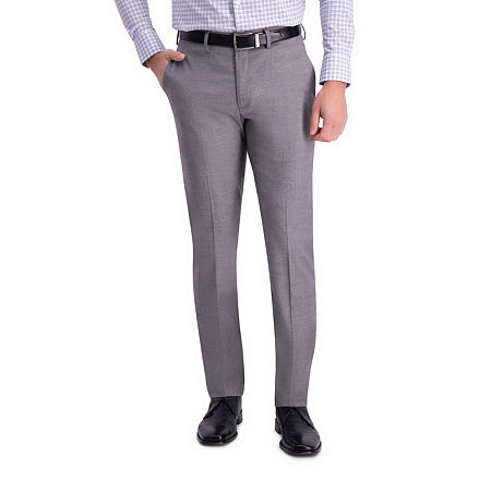 J.M Haggar Sharkskin Classic Fit Flat Front Dress Pant, 36 30, Silver
