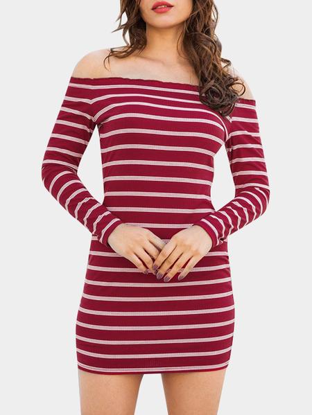Yoins Red Stripe Off The Shoulder Long Sleeves Mini Dresses