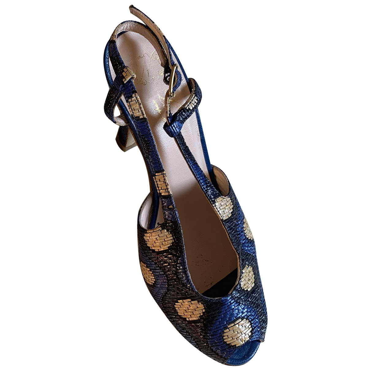 - Escarpins   pour femme en toile - bleu