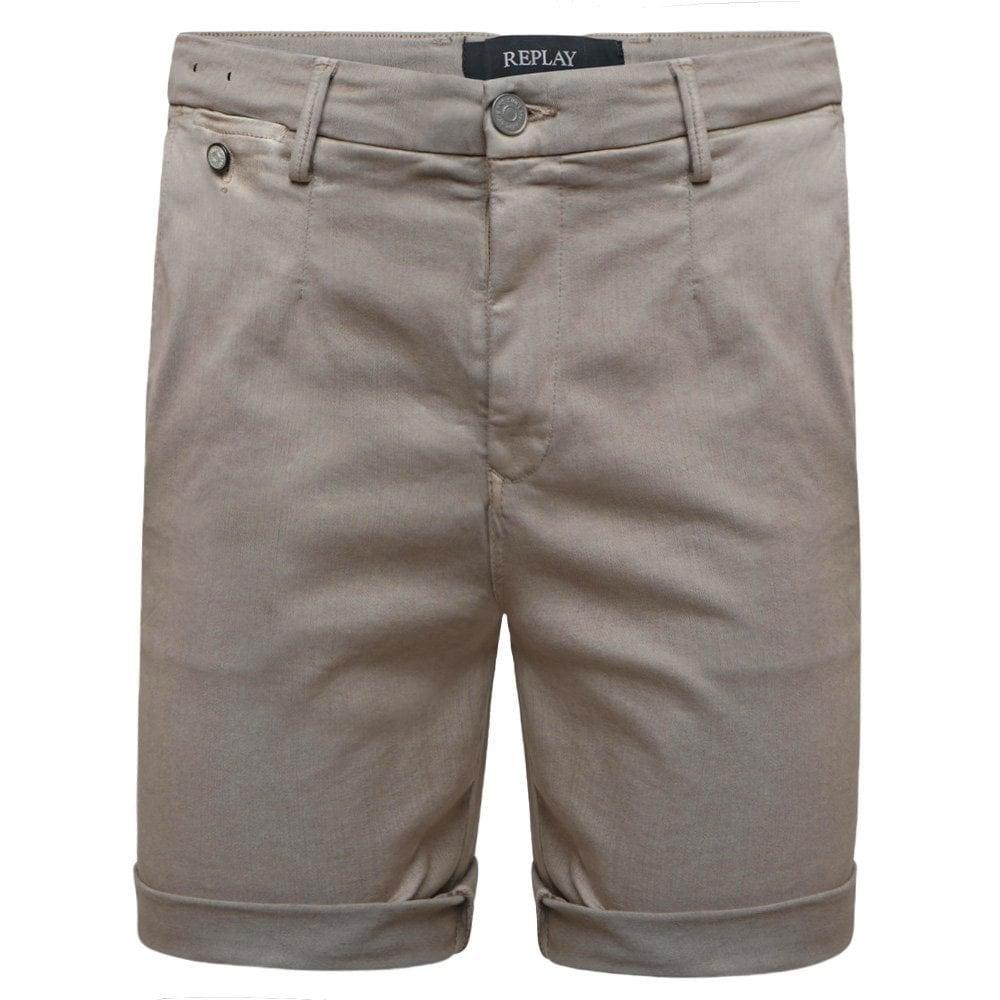 Replay Hyperflex Color Chino Edition Shorts Colour: KHAKI, Size: 34