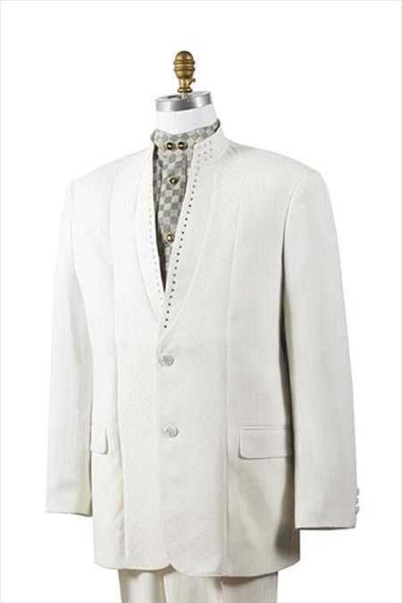 2 Button Tuxedo Trimmed Pleated Pants Mandarin Banded Collar Suits