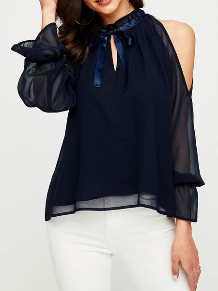 YOINS Navy Bowknot Cold Shoulder Long Sleeves Blouse