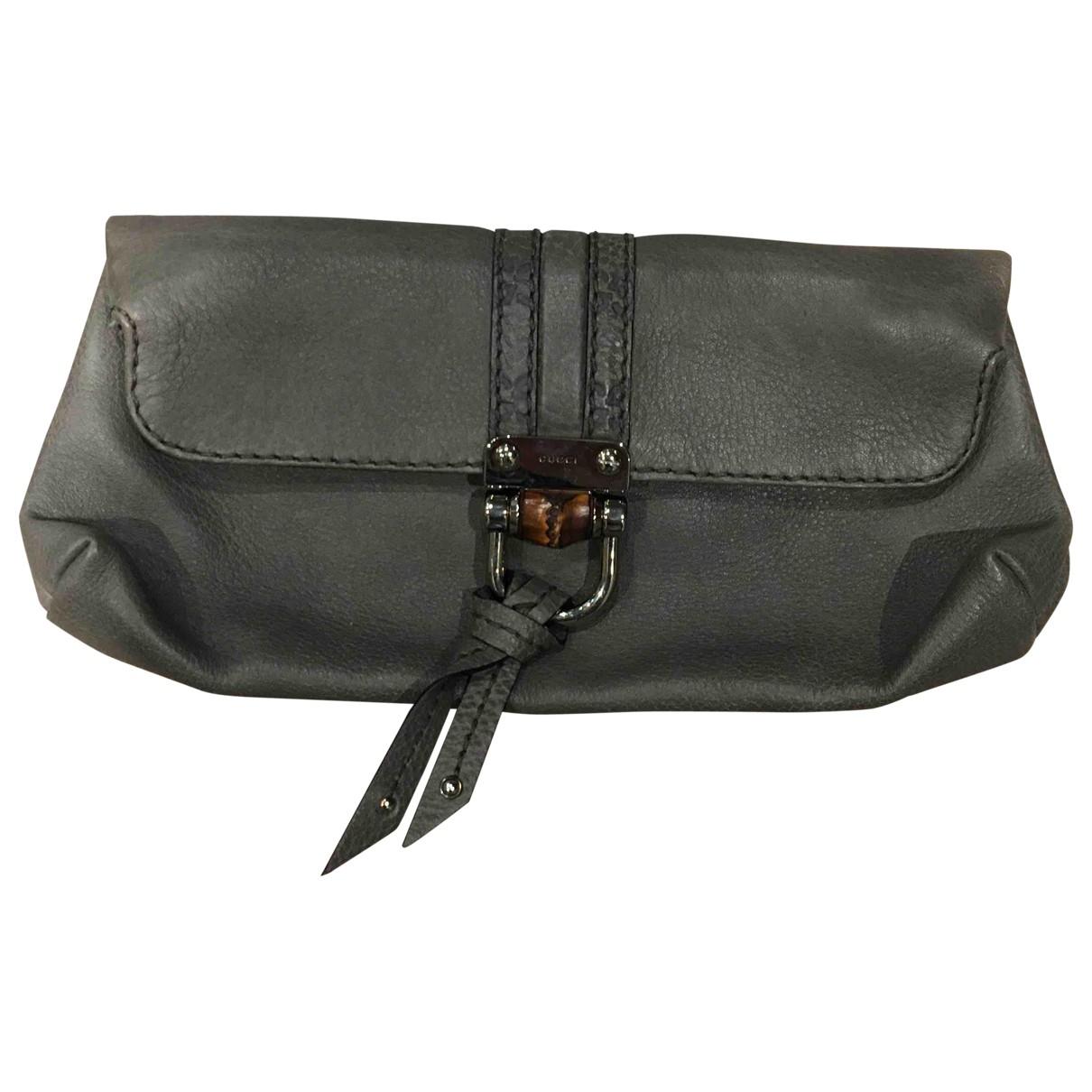 Gucci \N Grey Leather Clutch bag for Women \N