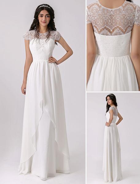 Milanoo Vestido de novia de chifon con escote transparente